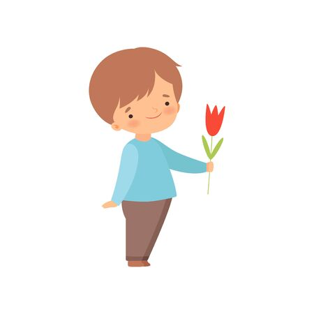 Adorable Little Boy Giving Red Tulip Flower Cartoon Vector Illustration on White Background. Ilustrace