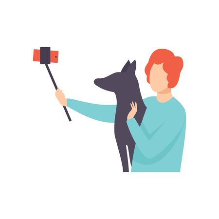 Young Man Taking Selfie Photo with His Dog, Guy Making Photo or Video for Social Media Using Smartphone Vector Illustration on White Background. Illustration