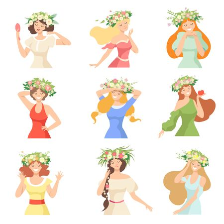 Collection of Young Beautiful Women with Flower Wreaths, Portraits of Happy Elegant Girls with Floral Wreaths Vector Illustration