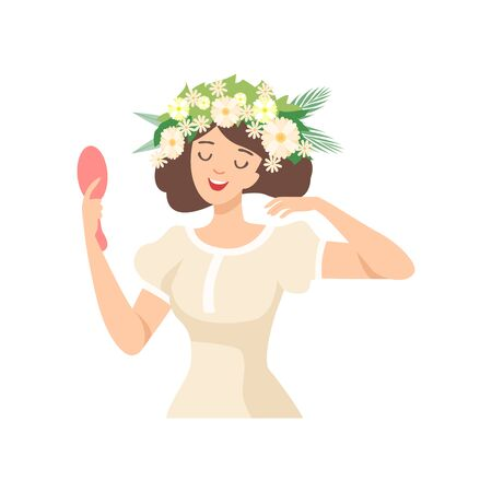 Young Beautiful Brunette Woman with Flower Wreath in Her Hair, Portrait of Happy Elegant Girl with Floral Wreath Vector Illustration on White Background.