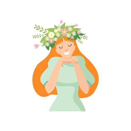 Young Beautiful Long Haired Woman with Flower Wreath in Her Hair, Portrait of Elegant Smiling Girl with Floral Wreath Vector Illustration on White Background.