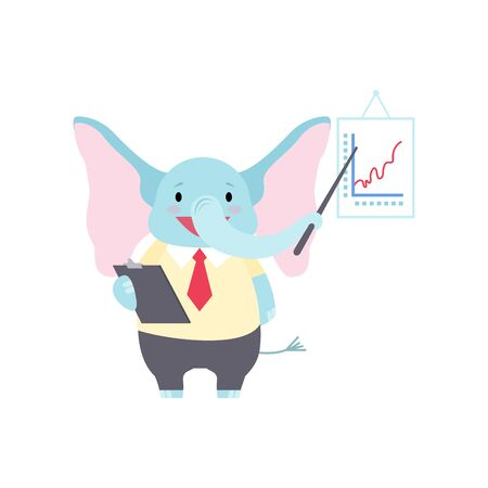 Cute Elephant Businessman Pointing at Whiteboard with Growth Graph at Presentation, Funny Animal Cartoon Character Vector Illustration on White Background.