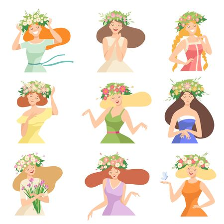 Collection of Young Women with Flower Wreaths, Portraits of Happy Elegant Beautiful Girls with Floral Wreaths Vector Illustration on White Background.