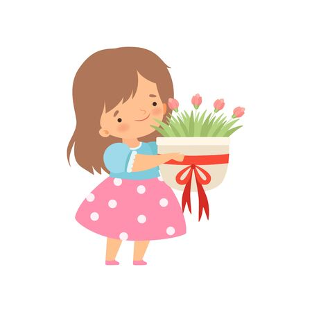 Lovely Little Girl with Bouquet of Flowers Cartoon Vector Illustration on White Background. Ilustração