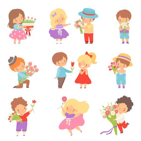 Collection of Cute Little Boys Giving Flowers to Lovely Girls Cartoon Vector Illustration on White Background.