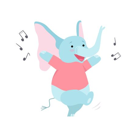 Cute Elephant Listening Music and Dancing, Funny Animal Cartoon Character Having Fun Vector Illustration on White Background. 向量圖像