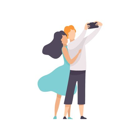 Happy Couple in Love Taking Selfie Photo or Video on Smartphone Vector Illustration on White Background.