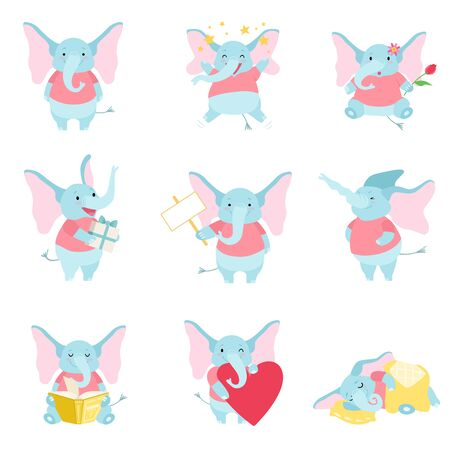 Cute Elephant Set, Funny Animal Cartoon Character in Different Situations Vector Illustration on White Background. Foto de archivo - 128164857