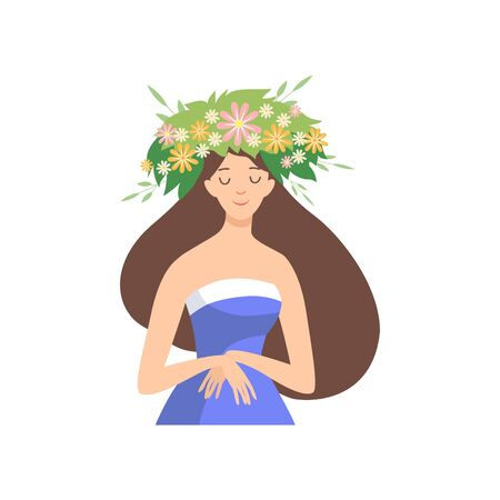 Young Beautiful Woman with Flower Wreath in Her Hair, Portrait of Elegant Brunette Girl with Floral Wreath Vector Illustration on White Background.