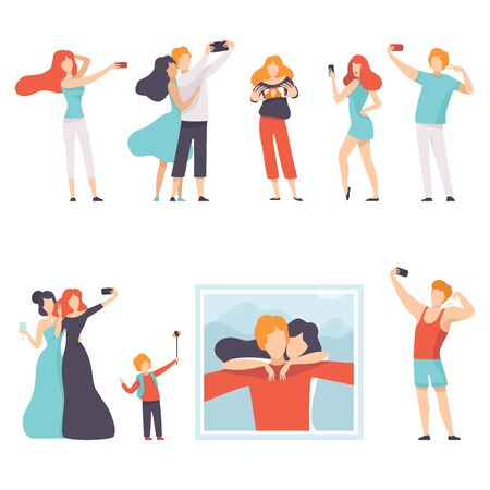 People Taking Selfie Photo on Smartphones Set, Young Women and Men Making Photo or Video for Social Media Using Modern Gadgets Vector Illustration on White Background. Иллюстрация