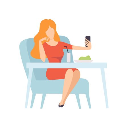 Girl Taking Selfie Photo on Smartphone While Sitting in Cafe or Restaurant, Young Woman Making Photo or Video for Social Media Using Modern Gadget Vector Illustration