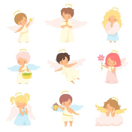 Cute Baby Angels with Nimbus and Wings Set, Adorable Boys And Girls Cartoon Characters in Cupid or Cherub Costumes Vector Illustration Banque d'images - 125448085