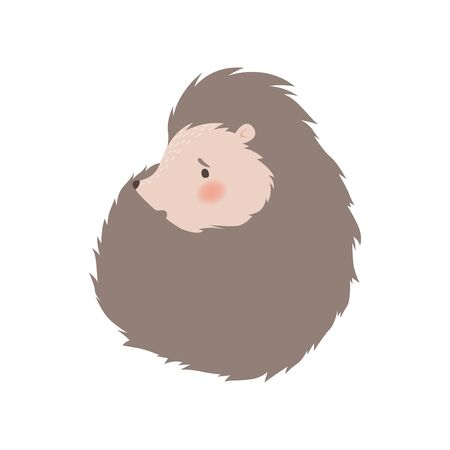 Cute Hedgehog Lying Curled Up, Adorable Prickly Animal Cartoon Character Vector Illustration on White Background.
