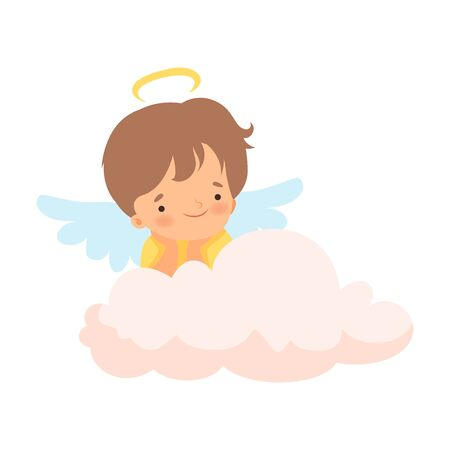 Cute Boy Angel with Nimbus and Wings Sitting on Cloud, Lovely Baby Cartoon Character in Cupid or Cherub Costume Vector Illustration Иллюстрация