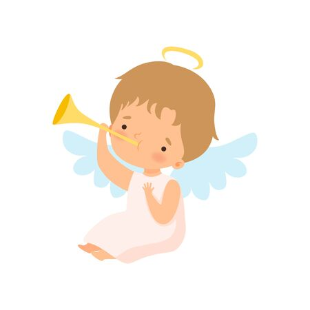 Cute Boy Angel with Wings Playing Trumpet, Lovely Baby Cartoon Character in Cupid or Cherub Costume Vector Illustration