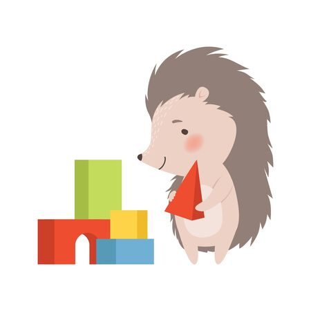 Cute Hedgehog Playing Colorful Toy Blocks, Adorable Prickly Animal Cartoon Character Vector Illustration on White Background. Vector Illustration