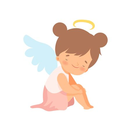 Adorable Girl Angel with Wings, Lovely Baby Cartoon Character Vector Illustration