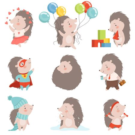 Cute Hedgehog Set, Adorable Prickly Animal Cartoon Character in Different Situations Vector Illustration