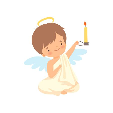 Cute Boy Angel with Wings Sitting and Holding Burning Candle, Lovely Baby Cartoon Character in Cupid or Cherub Costume Vector Illustration Banque d'images - 125448517