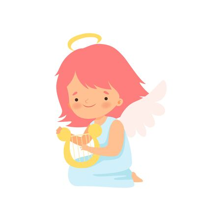 Cute Girl Angel with Wings Playing Harp, Lovely Baby Cartoon Character in Cupid or Cherub Costume Vector Illustration