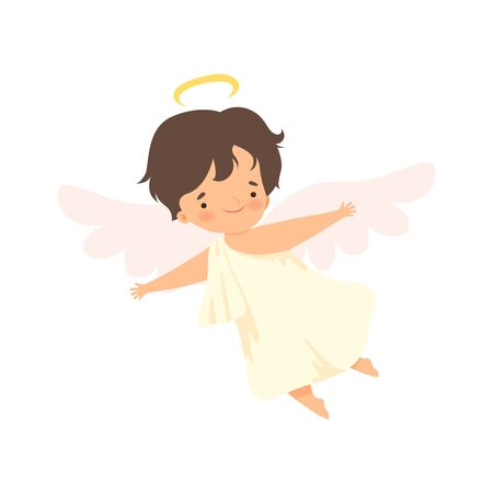 Cute Boy Angel with Flying with Wings, Lovely Baby Cartoon Character in Cupid or Cherub Costume Vector Illustration Banque d'images - 125449577