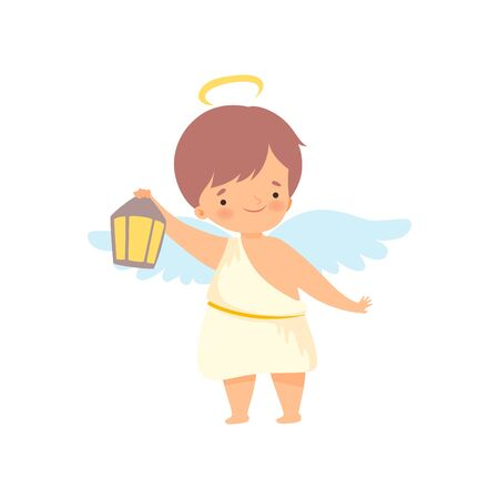 Cute Boy Angel with Wings Standing with Lantern, Lovely Baby Cartoon Character in Cupid or Cherub Costume Vector Illustration