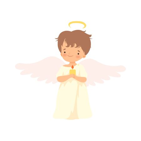 Cute Boy Angel with Wings Standing with Burning Candle, Lovely Baby Cartoon Character in Cupid or Cherub Costume Vector Illustration Иллюстрация