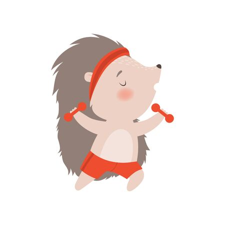 Cute Hedgehog Exercising Dumbbells, Adorable Sportive Prickly Animal Cartoon Character Vector Illustration on White Background.