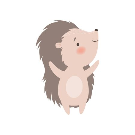 Cute Hedgehog Standing on Two Legs, Adorable Prickly Animal Cartoon Character Vector Illustration on White Background.