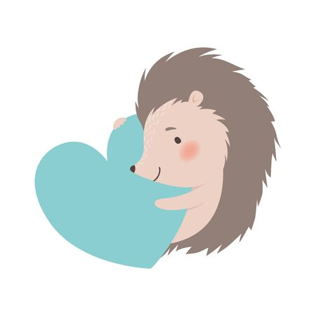 Cute Hedgehog Holding Big Heart, Adorable Prickly Animal Cartoon Character Vector Illustration on White Background.
