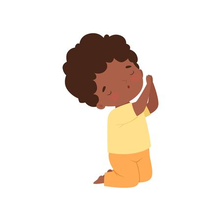 Little African American Boy Character Kneeling in Prayer Cartoon Vector Illustration Illustration