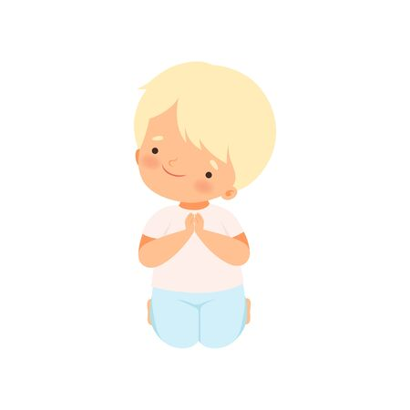 Sweet Little Boy Character Praying Standing on His Knees Cartoon Vector Illustration Illustration
