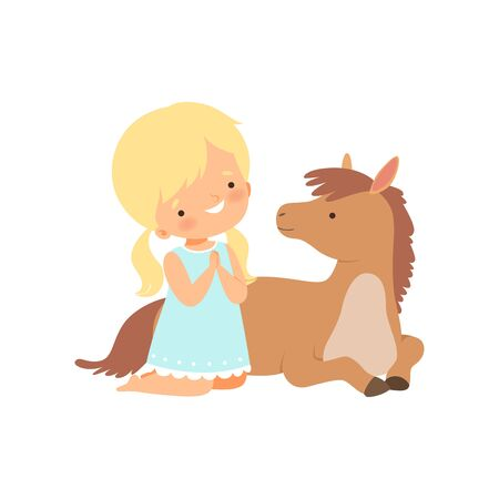 Cute Girl Sitting Next to Lying Foal, Kid Interacting with Animal in Contact Zoo Cartoon Vector Illustration on White Background. Illustration