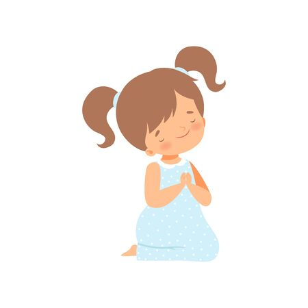 Adorable Little Girl Kneeling and Praying Cartoon Vector Illustration