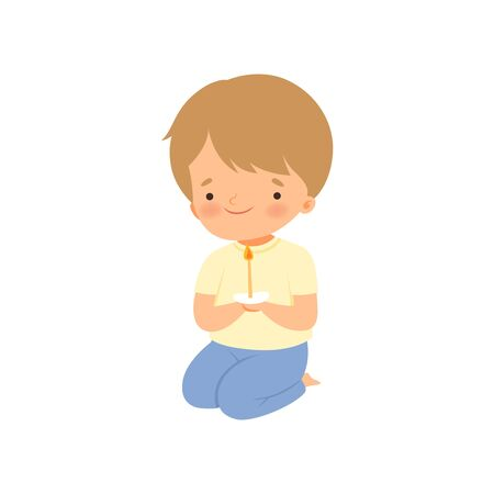 Cute Little Boy Kneeling and Praying Cartoon Vector Illustration