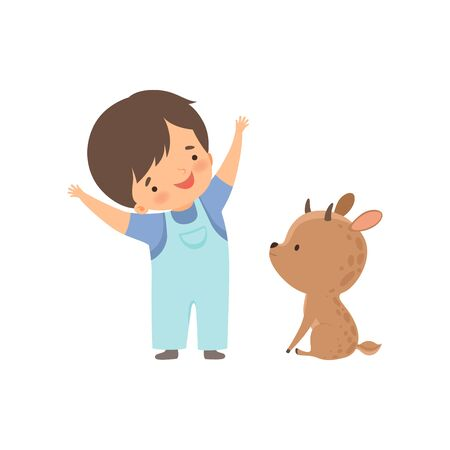 Cute Boy Playing with Baby Deer, Kid Interacting with Animal in Contact Zoo Cartoon Vector Illustration on White Background.