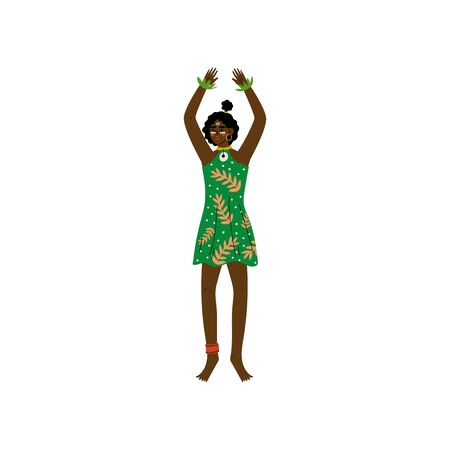African Woman, Aboriginal Girl Dressed in Modern Green Dress Vector Illustration on White Background. Foto de archivo - 128164889
