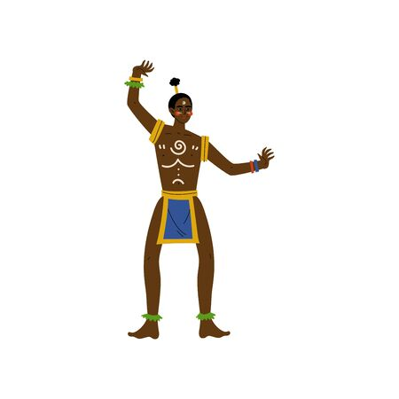 Dancing African Man, Male Aboriginal in Bright Traditional Tribal Clothing Vector Illustration on White Background. Foto de archivo - 128164890