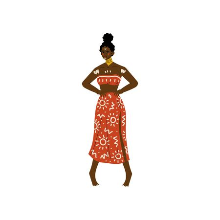 Beautiful African Woman, Aboriginal Girl Dressed in Bright Traditional Ethnic Clothing and Jewelry Vector Illustration on White Background. Foto de archivo - 128164891