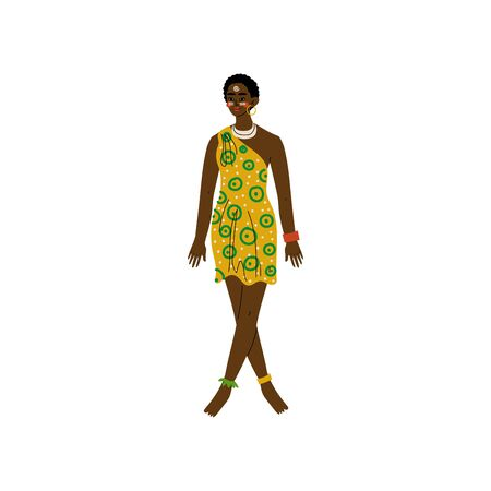 Beautiful African Woman, Aboriginal Girl Dressed in Modern Bright Sgirt Dress and Ethnic Jewelry Vector Illustration on White Background. Foto de archivo - 128164892