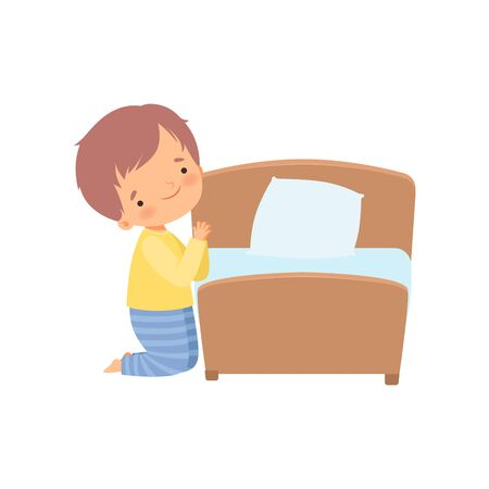 Cute Little Boy Character Praying Before Going to Bed Vector Illustration