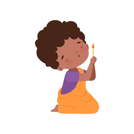 Little African American Girl Character Kneeling in Prayer with Burnng Candle Cartoon Vector Illustration Illustration