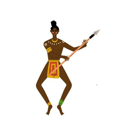 African Warrior Dancing with Spear, Male Aboriginal Dressed in Bright Traditional Ethnic Clothing Vector Illustration on White Background. Illustration