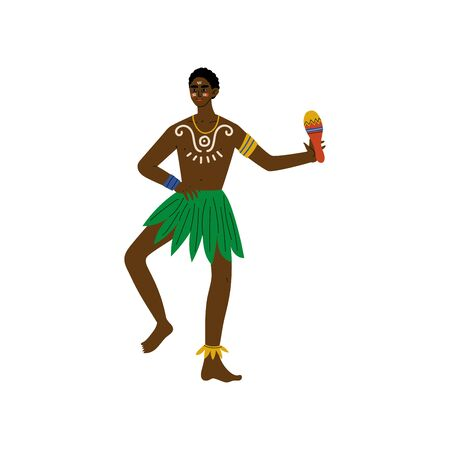 African Man Dancing with Maraca, Male Aboriginal Dressed in Bright Traditional Tribal Ethnic Clothing Vector Illustration on White Background.