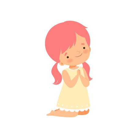Little Girl Character Kneeling While Praying Cartoon Vector Illustration