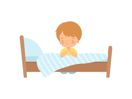 Little Boy Character Praying Beside his Bed Vector Illustration
