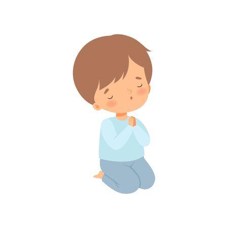 Süßer kleiner Junge kniet und betet Cartoon-Vektor-Illustration