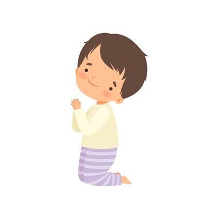 Little Boy Character Praying Standing on His Knees Cartoon Vector Illustration
