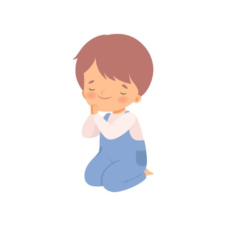 Cute Little Boy Character Praying Standing on His Knees Cartoon Vector Illustration