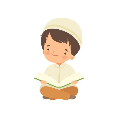 Muslim Boy Character Kneeling Down Praying and Reading Quran Cartoon Vector Illustration